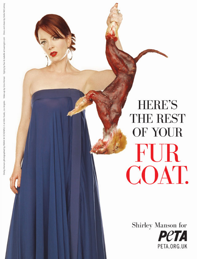 a04b45a9f9f Scottish rock star Shirley Manson is leading a counter-attack against fur-wearing  celebrities by posing in a shocking poster with the skinned carcass of a ...