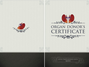 Organ donors certificate for drivers