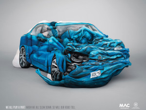 Amazing car crash sculpture made with 17 painted bodies