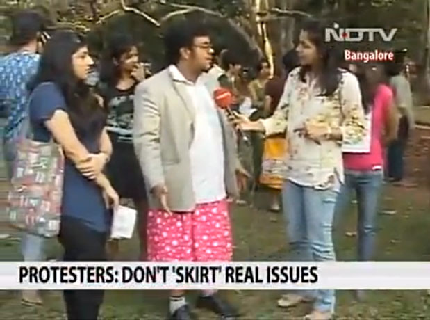 In Bangalore men 'Skirt the Issue'