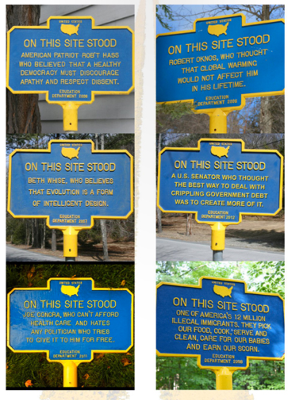 """Artist Norm Magnusson brings his """"signs of trouble"""" to The New York State Thruway"""