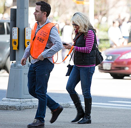 Seeing Eye People help NYC pedestrians text while walking