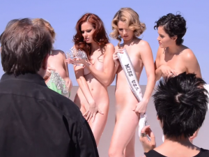 Naked beauty queens against fur