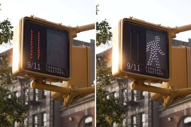 The traffic lights in New York tell you what to do on 9/11: Forward. Together.