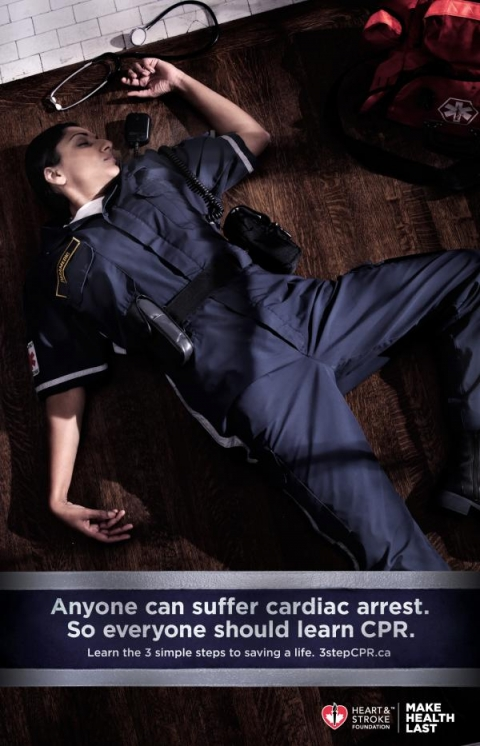 Heart and Stroke Foundation of Canada: Dead paramedic, firefighter, star in CPR ads
