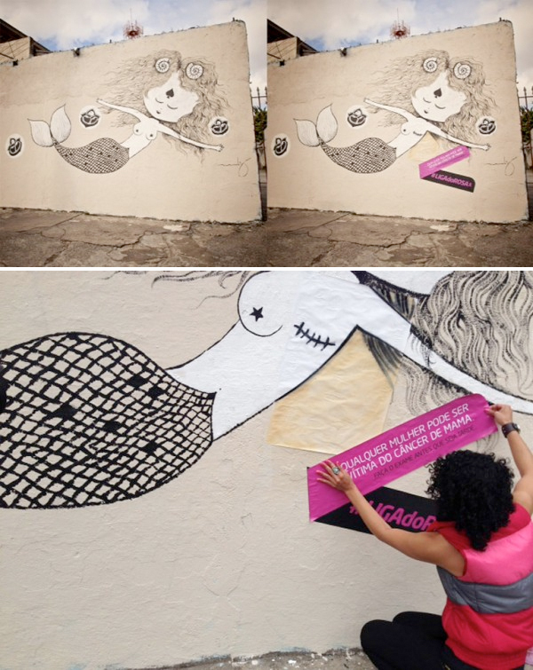 Liga Do Rosa Artists take mastectomy images to the streets