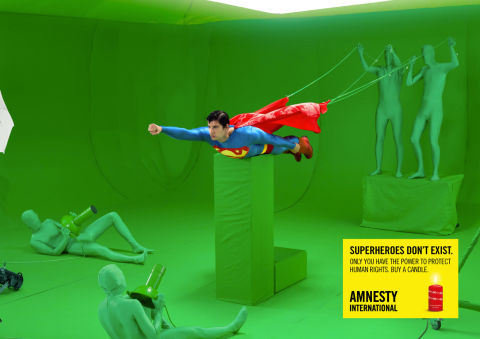 Amnesty International advertises the clumsy way because Superheroes don't exist