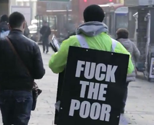 """""""F*ck The Poor"""" campaign shocks Londoners for a cause"""