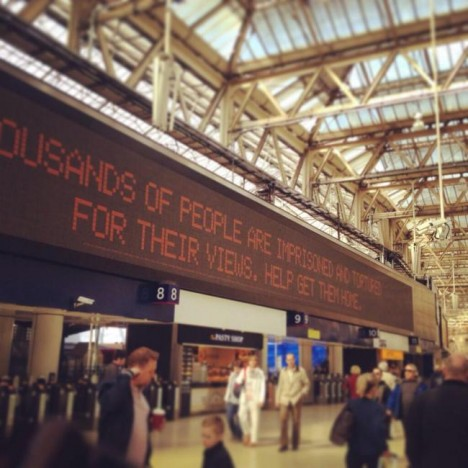 Amnesty International campaign takes over UK's busiest train station