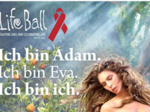 Life Ball posters feature nude transgender model as both Adam and Eve [nudity]