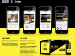 Amnesty International takes over Tinder to promote women's rights