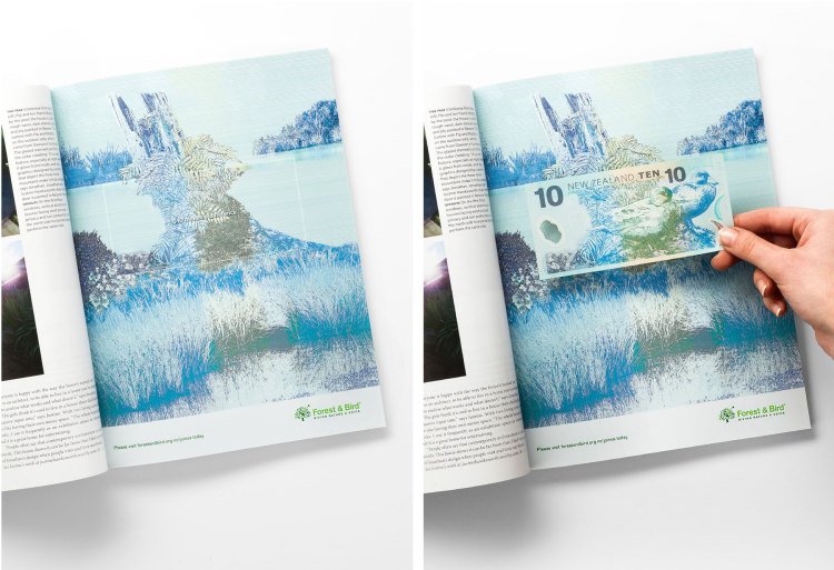 Forest & Bird New Zealand banknotes tell you why you should donate to nature