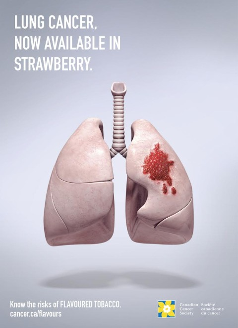 Canadian Cancer Society - Cancer, now available as strawberry