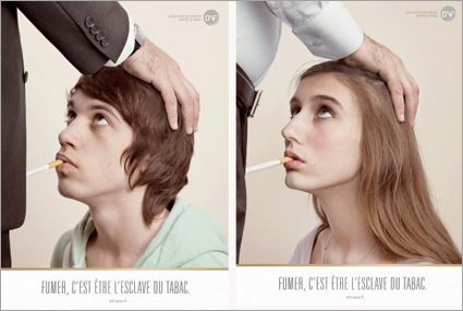 French ads depict teen smoking as being orally raped by a male tobacco executive.