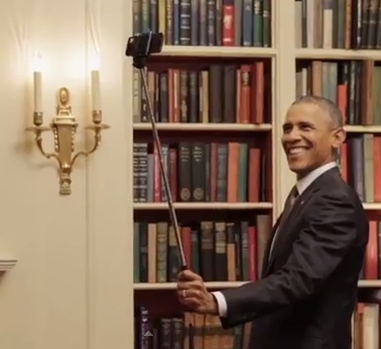Obama uses a selfie stick