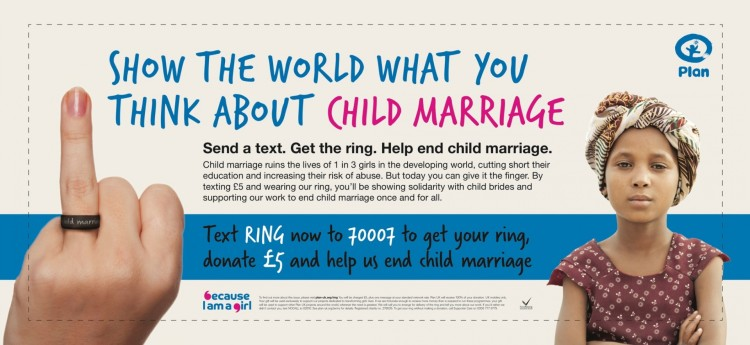 Plan UK 'give child marriage the finger'.