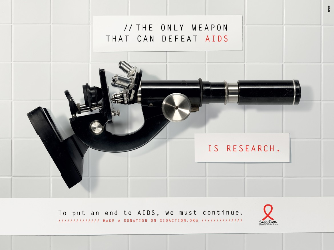Sidaction: The only weapon that can defeat AIDS is research.