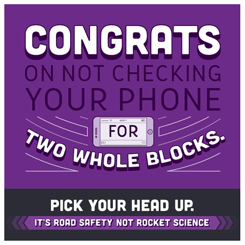 "Badge reads, ""Congrats on not checking your phone for two whole blocks. Pick your head up."""