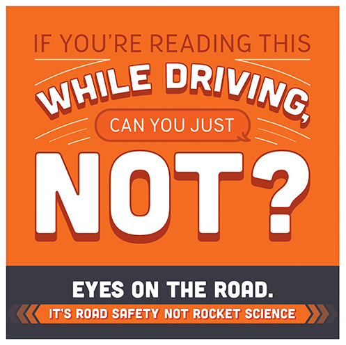 "Badge reads, ""If you're reading this while driving, can you  just not? Eyes on the road."
