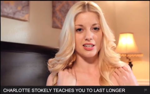 Feature image of Charlotte Stokely on pornhub, hosting a guerrilla psa about testicular cancer