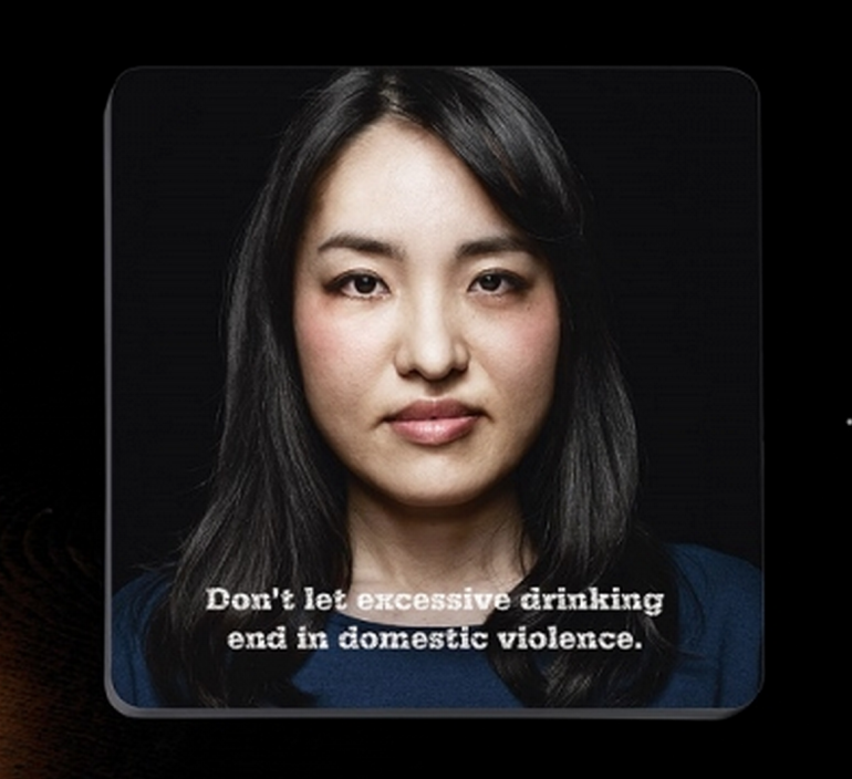 Bar coaster showing woman's face.