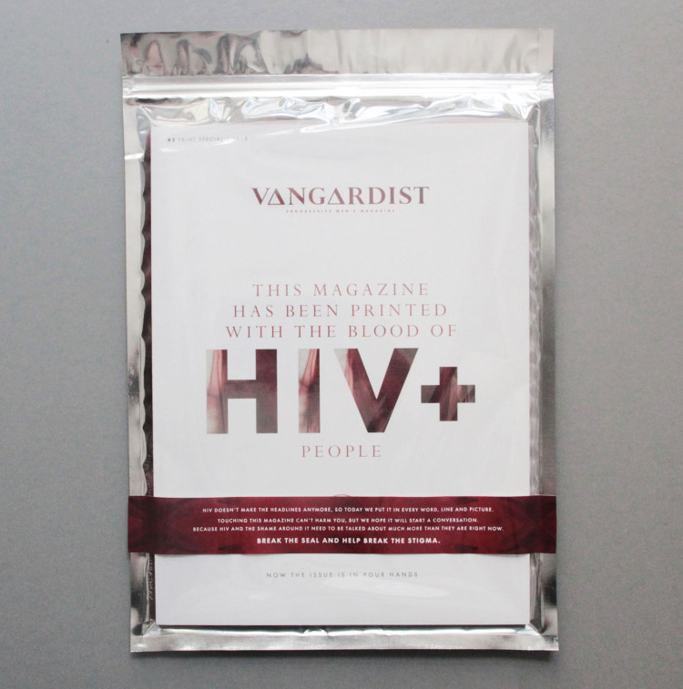 Vangardist Magazine: This magazine has been printed with the blood of HIV+ people
