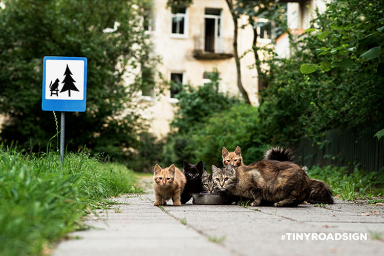 TINYROADSIGN is an agency self-promotion campaign by CLINIC 212 in Vilnius, Lithuania