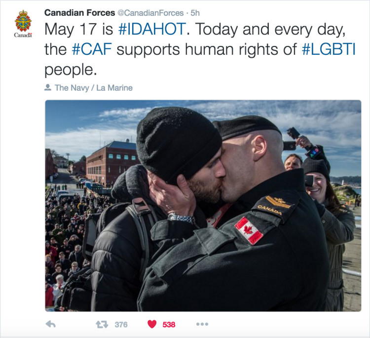Life imitates art as Canadian Armed Forces Tweets LGBT kiss IDAHOT