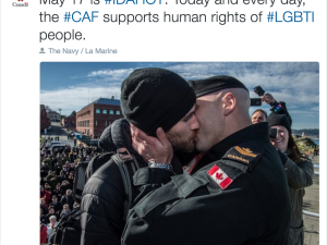 Life imitates art as Canadian Armed Forces Tweets LGBT kiss #IDAHOT