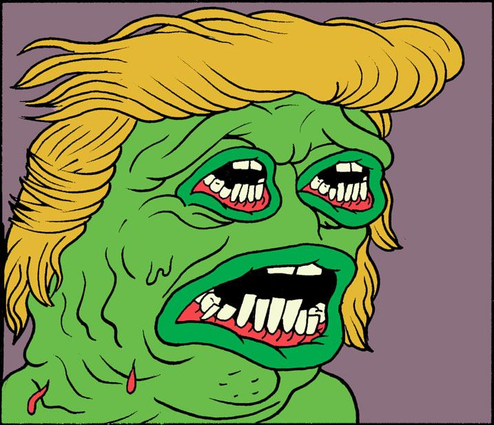The Nib, showing his creation mutating into a Trump-like monster
