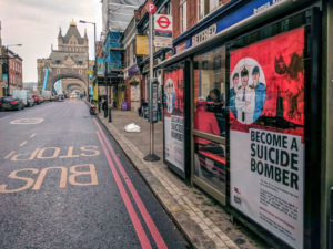 Spoof Navy recruitment posters across London: Become A Suicide Bomber
